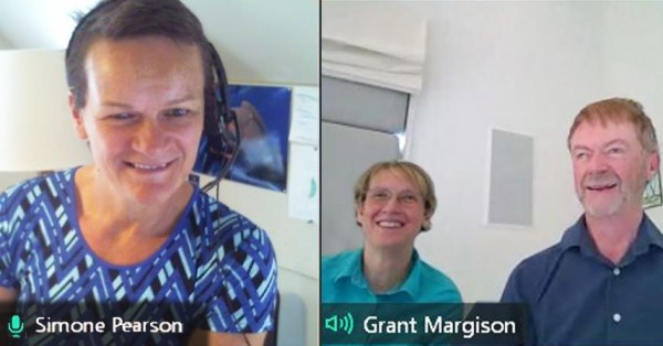 news -  A screenshot of a video call with three consultants in a Office 365 Information Management workshop